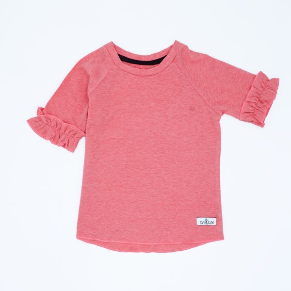 frilly coral short-sleeved tee