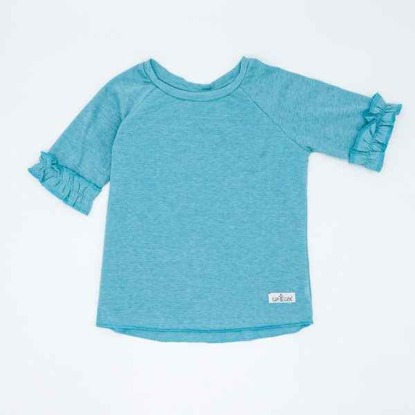 frilly blue short-sleeved tee
