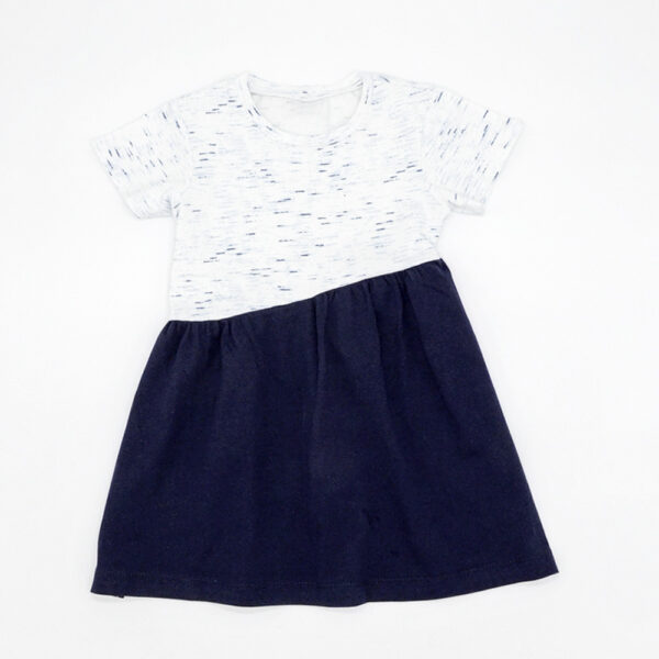 Contrast navy and white speckled dress