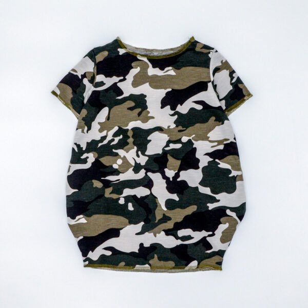 Camouflage french terry box dress