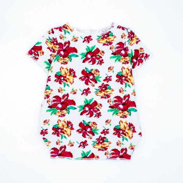 Hibiscus floral print box dress for girls