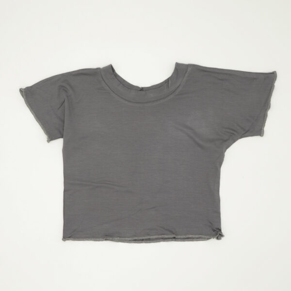 Light weight loose-fit crop top in grey