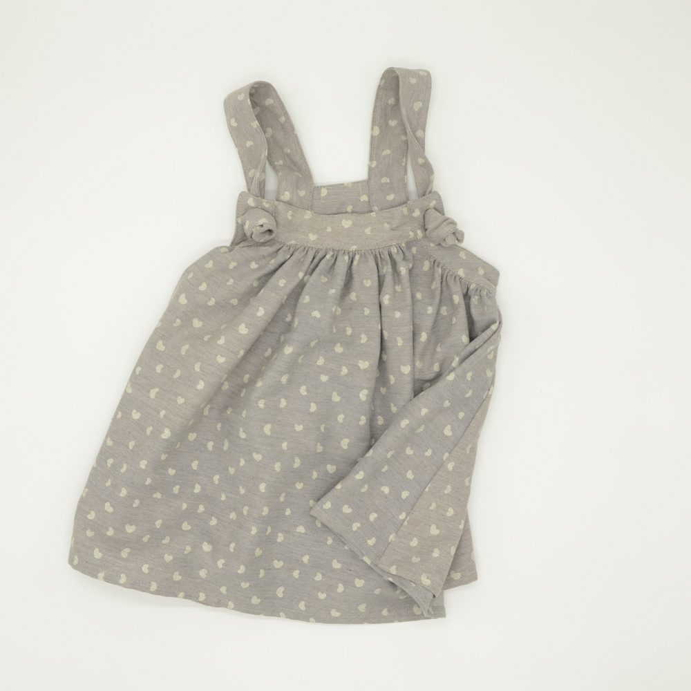 Knotted strap denim pinafore dress