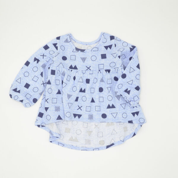 Baby girls light blue top with puffed sleeves