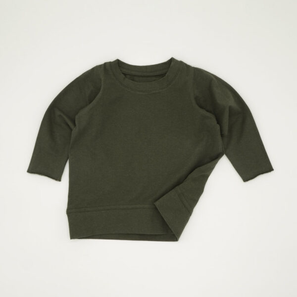 Forest green lightweight boxy tracksuit top for kids