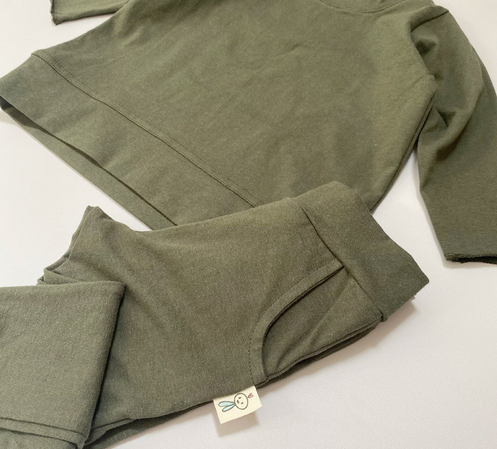 Green Cotton Tracksuit for Infants