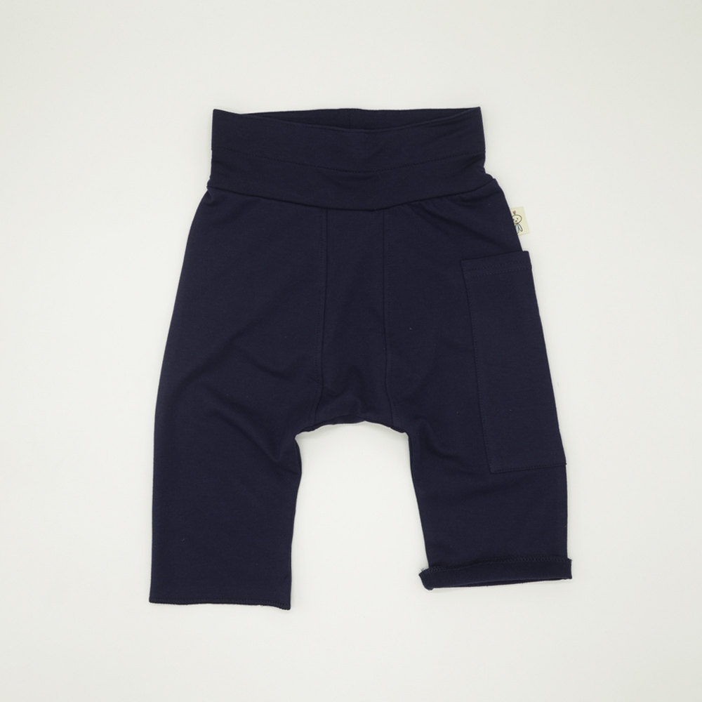 Soft navy unisex harem pants for toddlers and kids