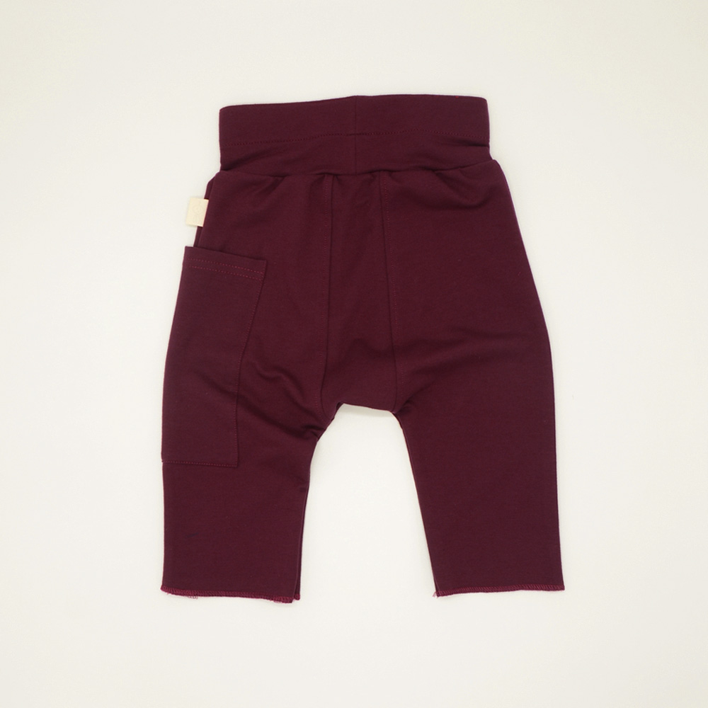 Unisex cropped harem pants for kids in Maroon