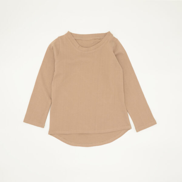 Beige Long Sleeved Cotton Tee for Kids
