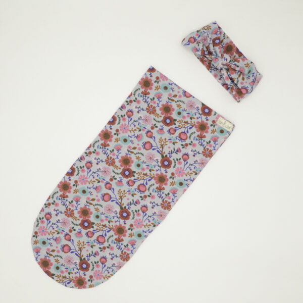 Floral print swaddle sock and bow set