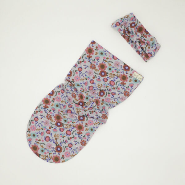 Light grey floral swaddle sock and bow for girls
