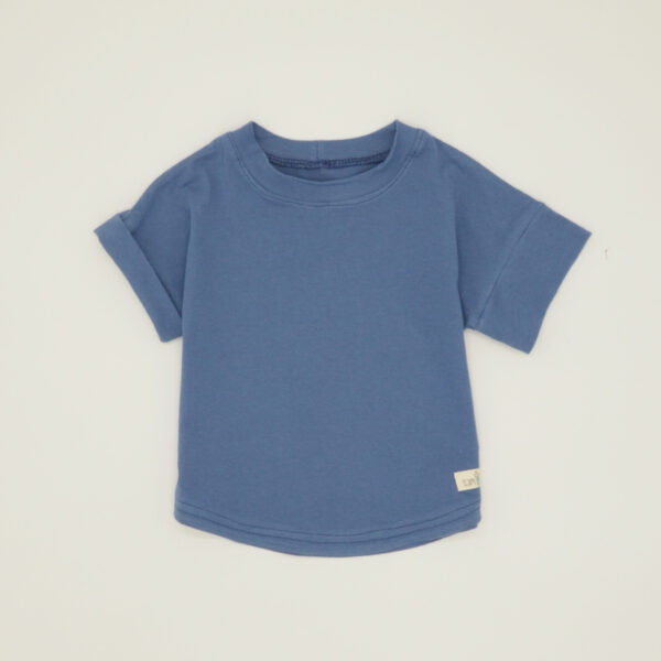 Boys pastel blue t-shirt with rolled sleeve
