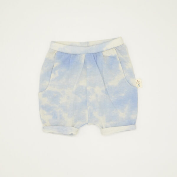 Blue and white tie-dye printed shorts for kids