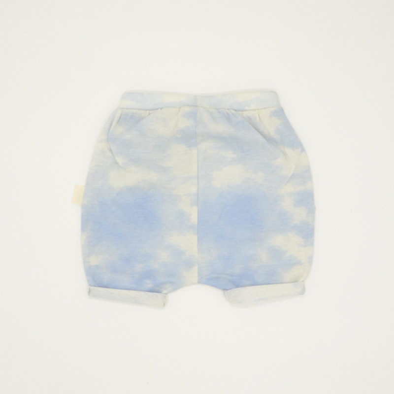 Tie-dye blue and white summer shorts for kids