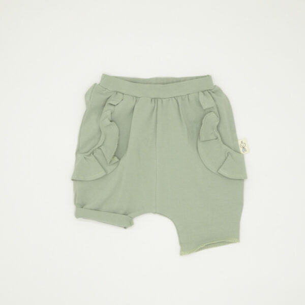 Green frilly summer shorts for girls